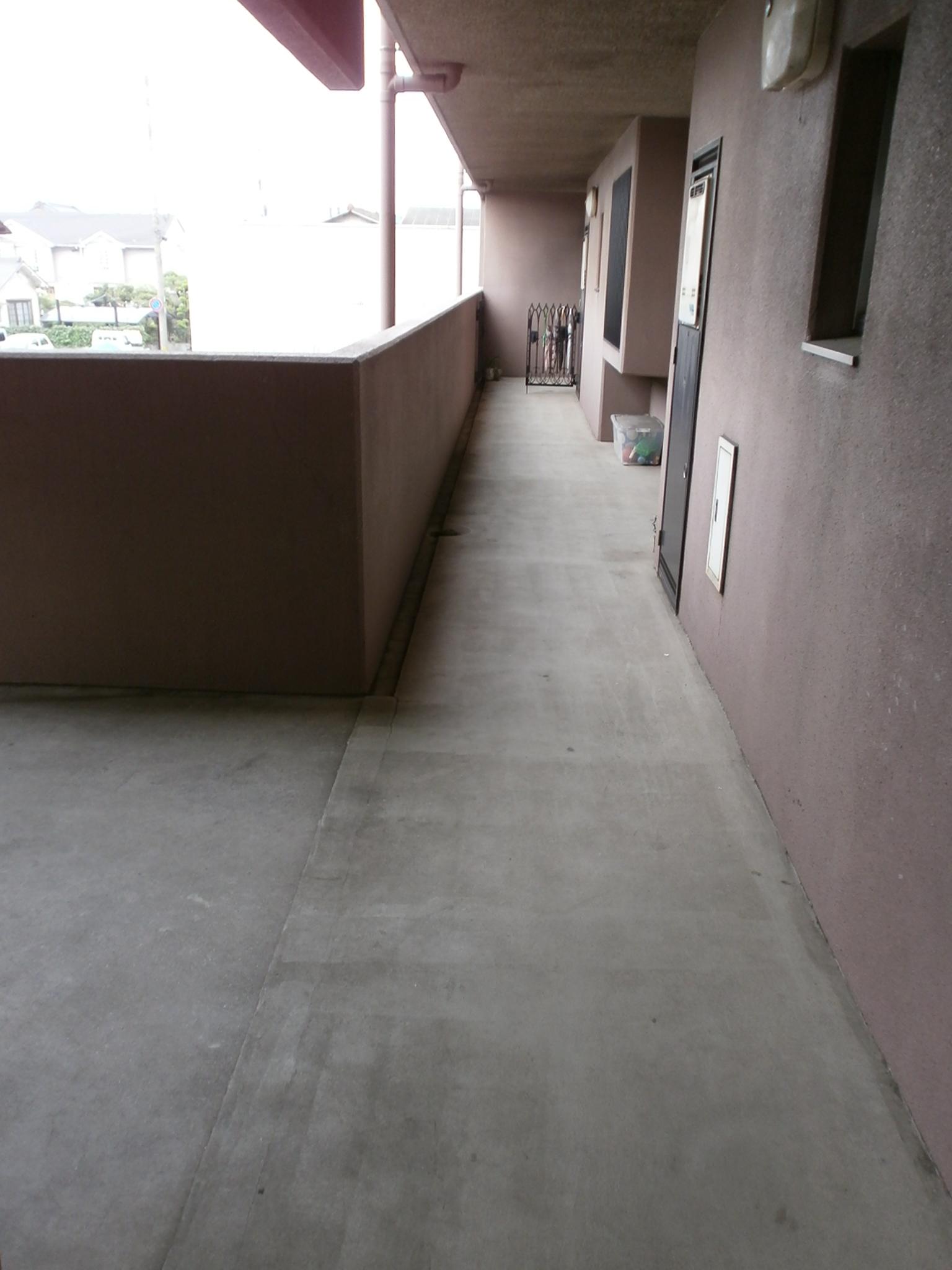 大分市高城マンション廊下防水シート施工