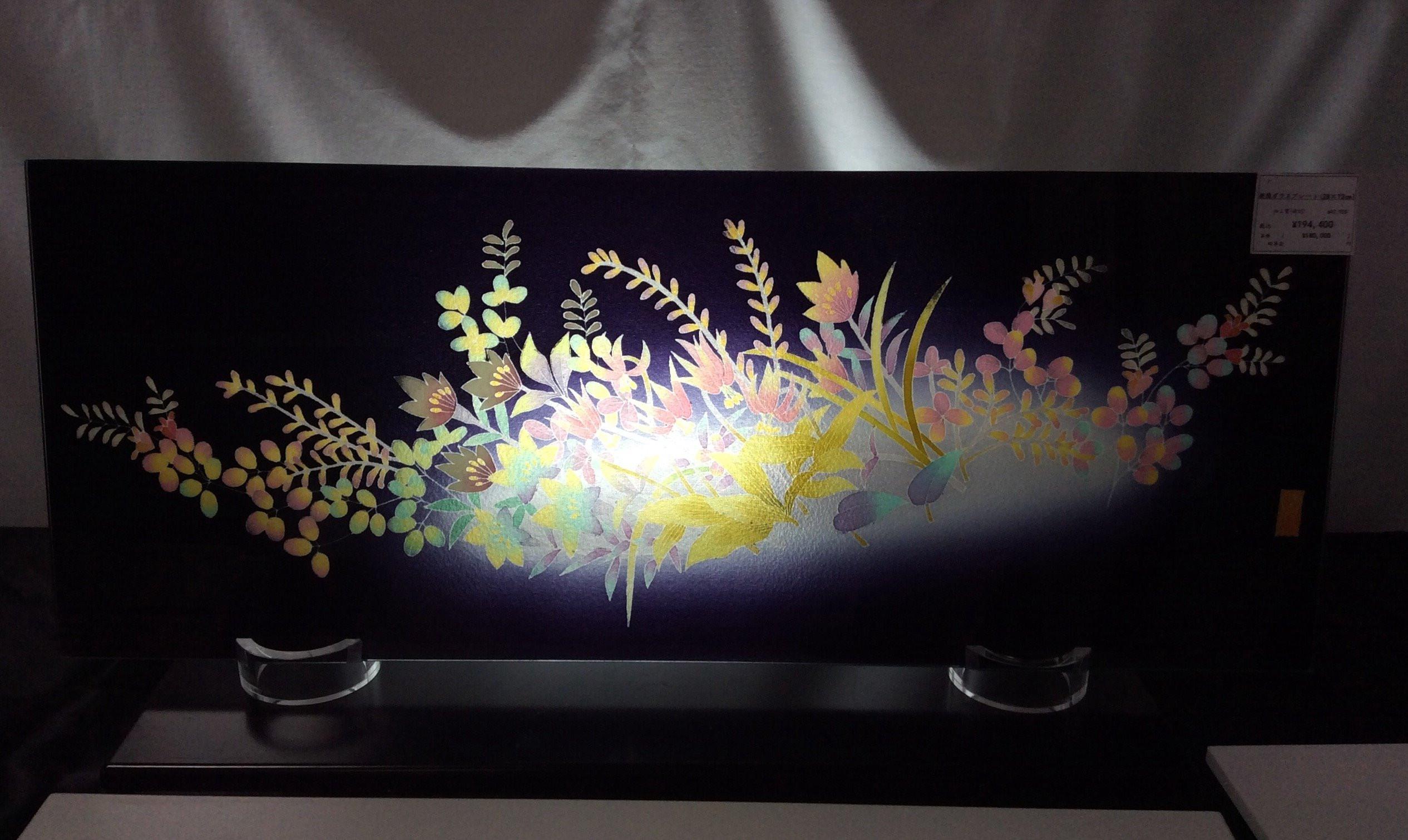 加賀友禅ガラスインテリア「四季の花」
