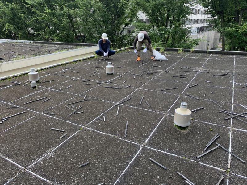 東京での屋上の防水工事の様子です