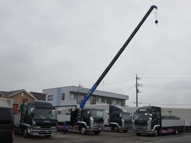 増トン平ボディーエアサス車小型移動式クレーン付馬付