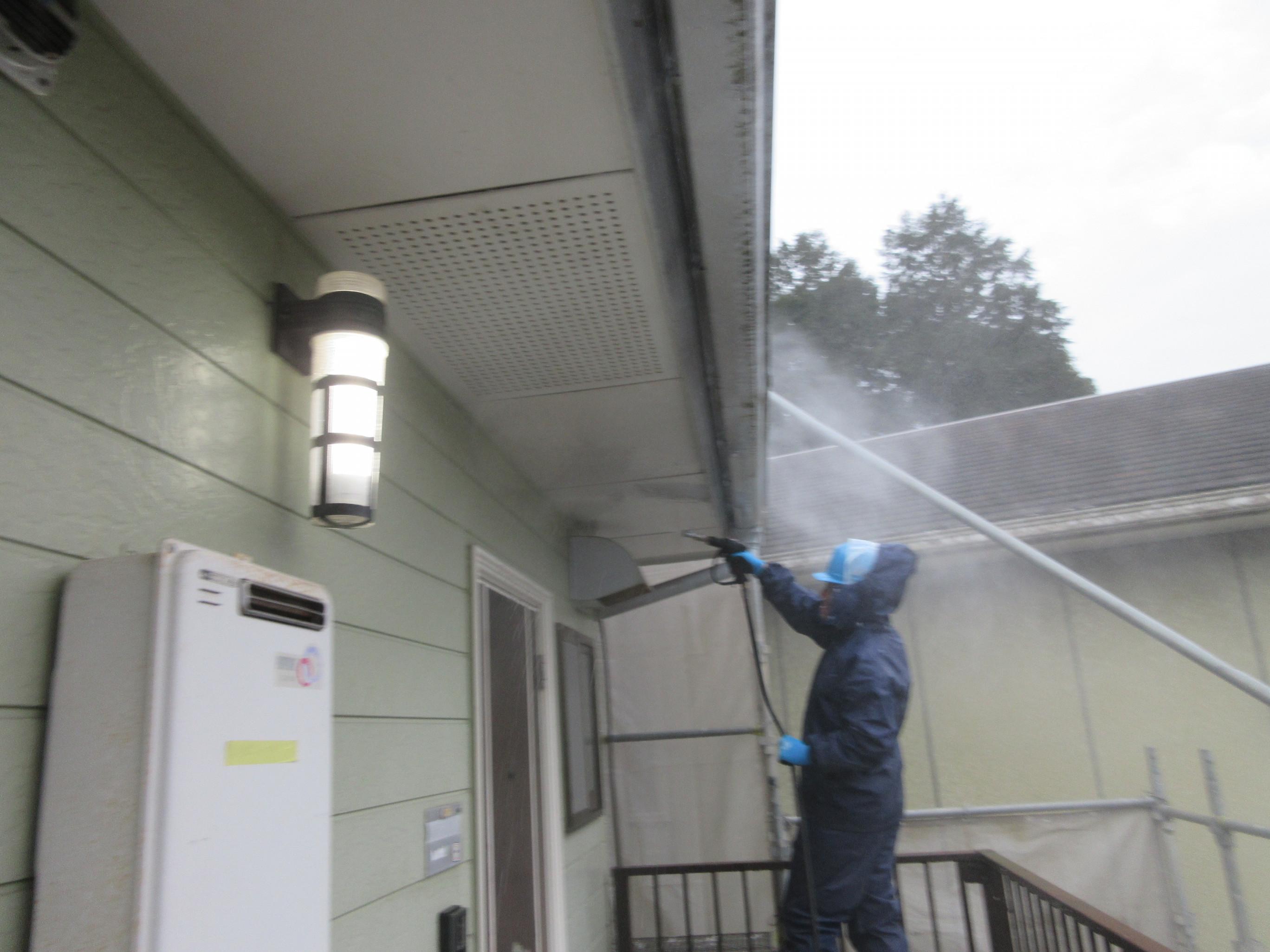 山口市Ⅰ様所有アパート屋根外壁シリコン塗装