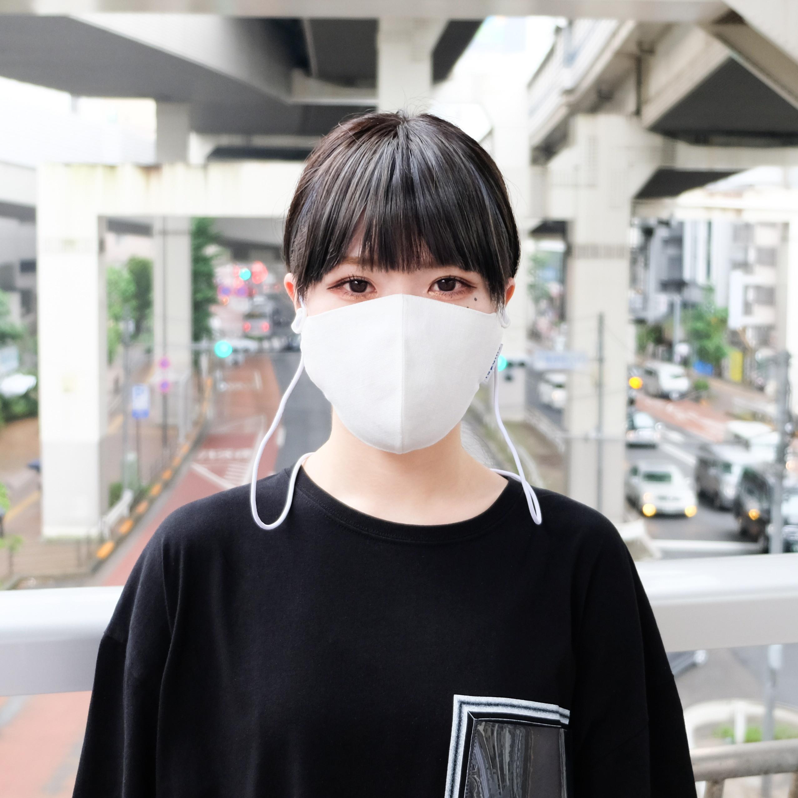 リネン×接触冷感 大人用 ネックストラップマスク / WHITE