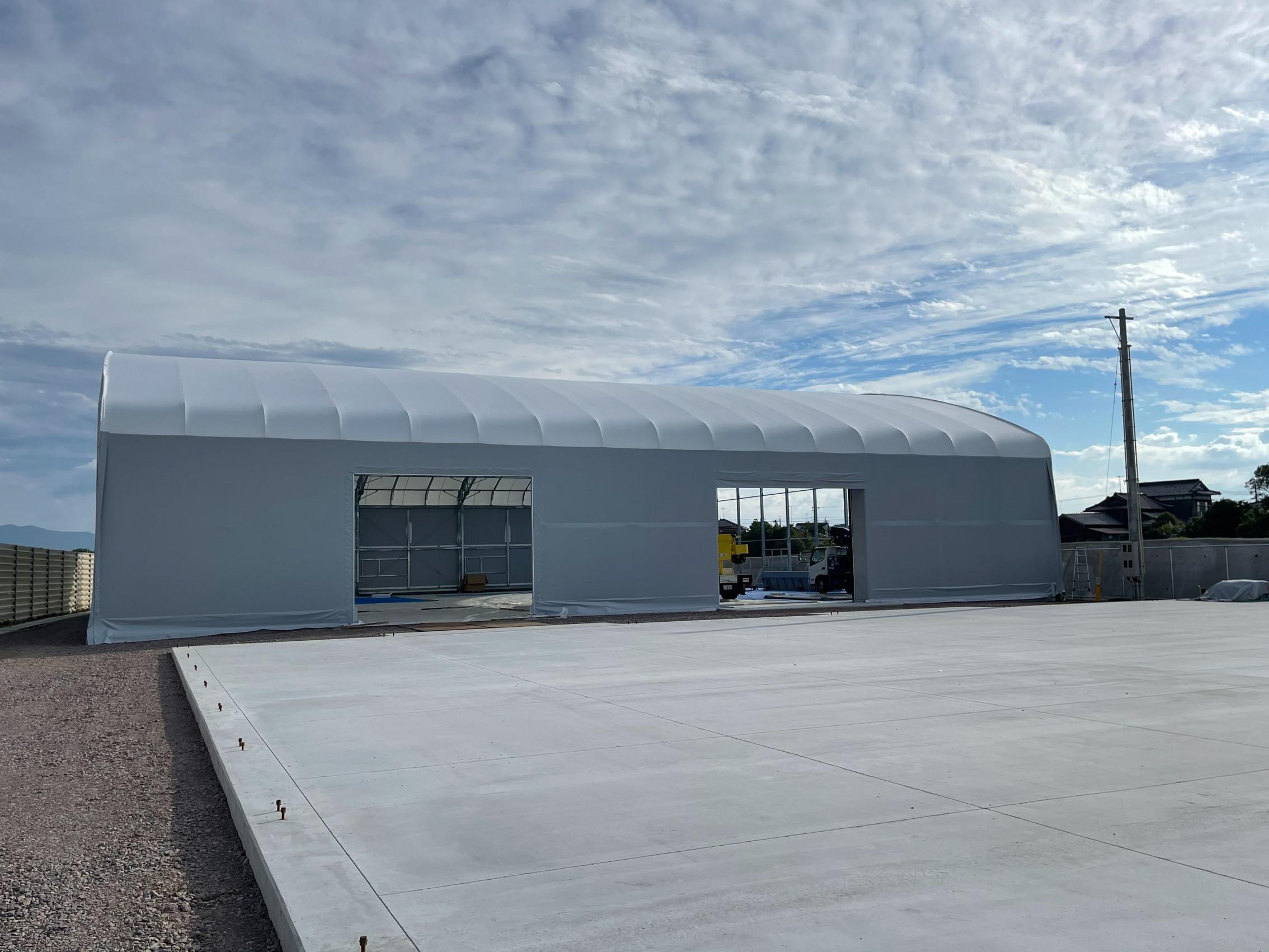 大分県にて テント倉庫 施工させて頂きました。