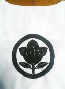 祭り鯉口シャツに家紋刺繍「丸に橘」