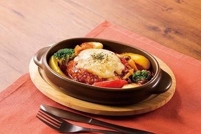 ジューシーハンバーグの トマトチーズ焼き