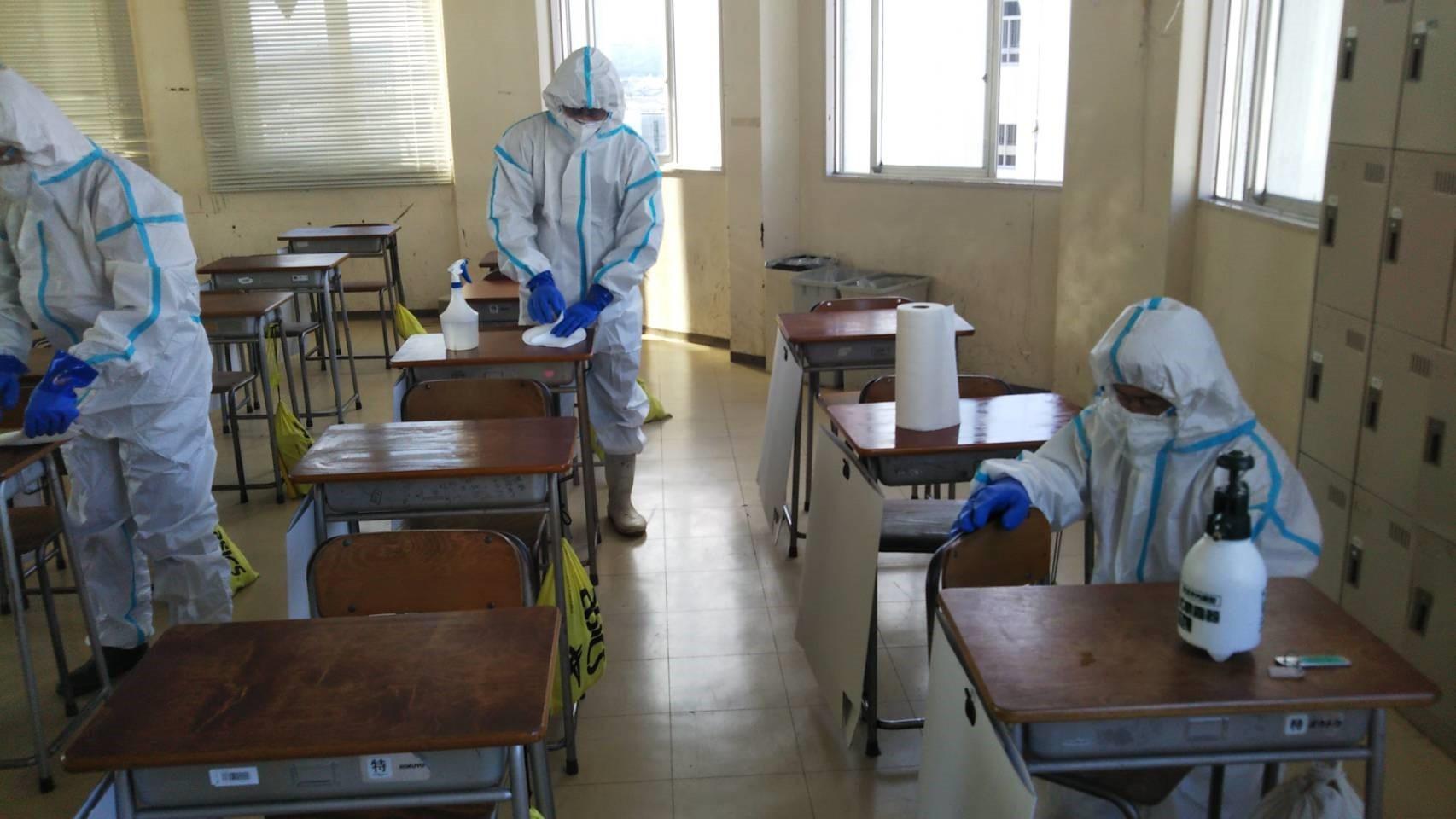 某学校の除菌消毒