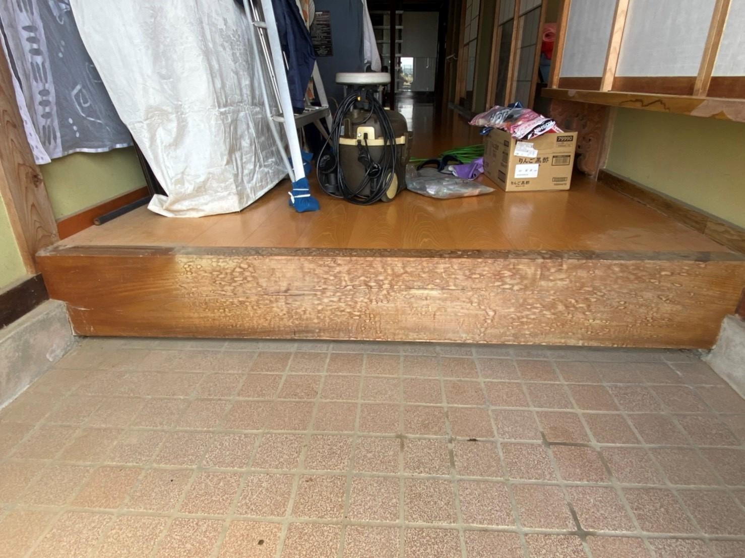 白木洗い 玄関框