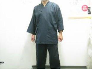 大きなサイズの作務衣、 100%綿のドビー織、 濃紺