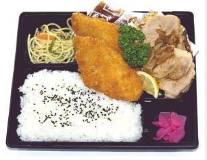 白身魚フライ&生姜焼きランチ
