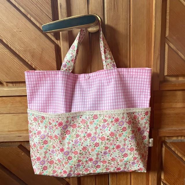 女の子向け ジュニア用 プールバッグ 小花 ピンク