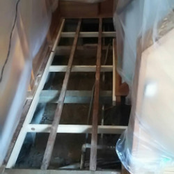 玄関廊下床補強、フローリング張り替え工事画像