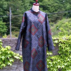 大島紬のコート(オーダー)画像