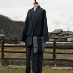 大島紬の作務衣(オーダ)画像