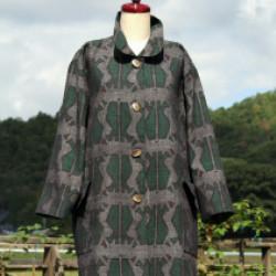 結城紬のハーフコート(作品No1142)画像