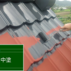 兵庫県三田市 合掌屋根塗装画像