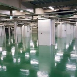 都内、物流倉庫内の床補修塗装工事
